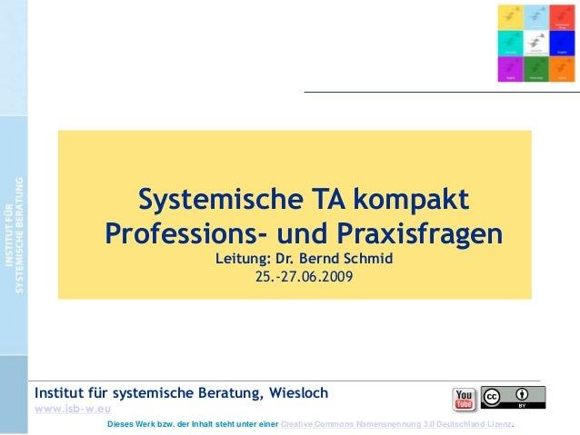 Systemische TA kompakt Professions- und Praxisfragen Leitung: Dr. Bernd Schmid 25.-27.06.2009  Institut für systemische Be...