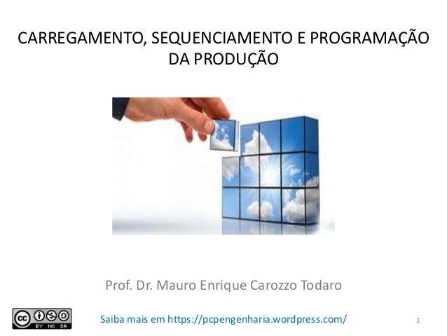 CARREGAMENTO, SEQUENCIAMENTO E PROGRAMAÇÃO DA PRODUÇÃO Prof. Dr. Mauro Enrique Carozzo Todaro Saiba mais em https://pcpeng...