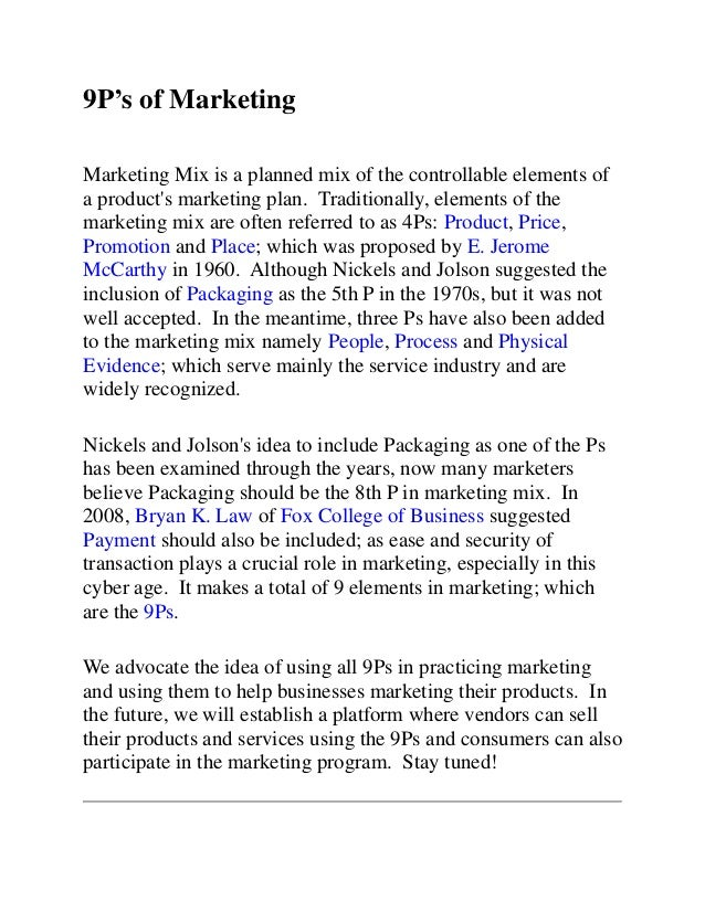 Ps Of Marketing Ps Of Marketingmarketing Mix Is A Planned Mix Of The Controllable  Elements Ofa Products Marketing Plan