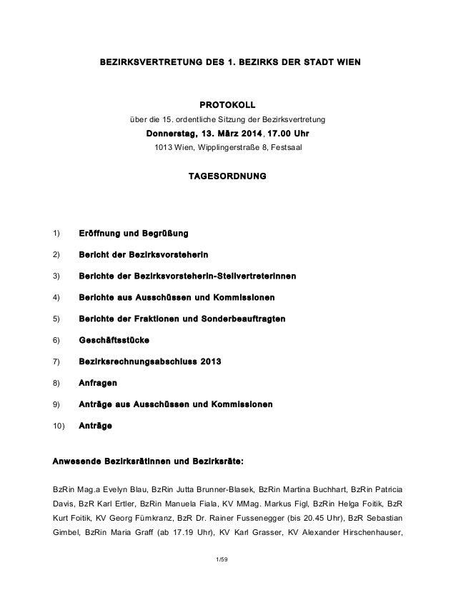 BEZIRKSVERTRETUNG DES 1. BEZIRKS DER STADT WIEN PROTOKOLL über die 15. ordentliche Sitzung der Bezirksvertretung Donnersta...