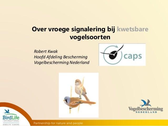 Over vroege signalering bij kwetsbare  vogelsoorten  Robert Kwak  Hoofd Afdeling Bescherming  Vogelbescherming Nederland