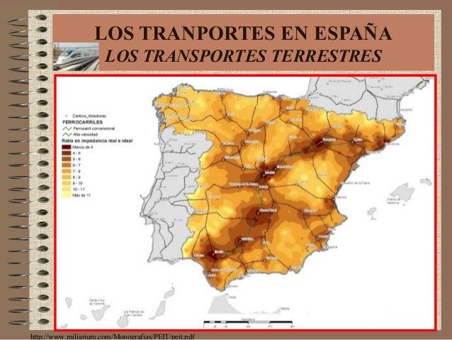 LOS TRANPORTES EN ESPAÑA LOS TRANSPORTES TERRESTRES http://www.miliarium.com/Monografias/PEIT/peit.pdf