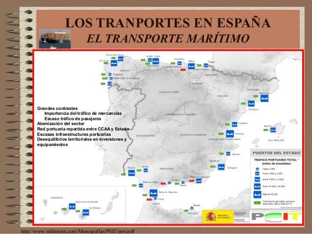 LOS TRANPORTES EN ESPAÑA EL TRANSPORTE MARÍTIMO http://www.miliarium.com/Monografias/PEIT/peit.pdf Grandes contrastes Impo...