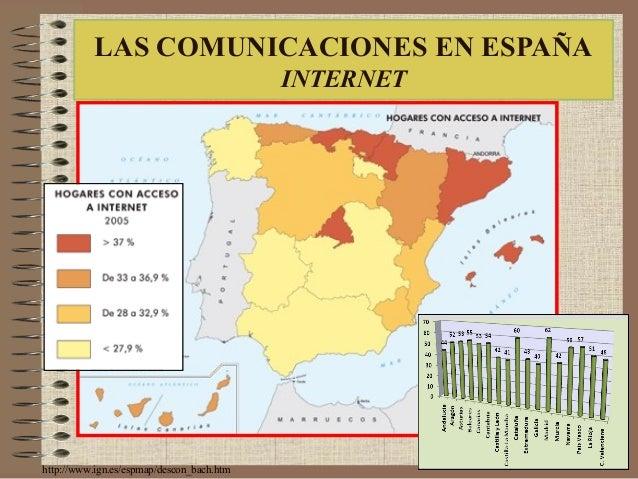 http://www.ign.es/espmap/descon_bach.htm LAS COMUNICACIONES EN ESPAÑA INTERNET