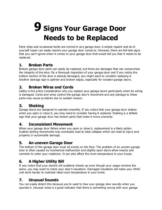 9 Signs Your Garage Door Needs To Be Replaced