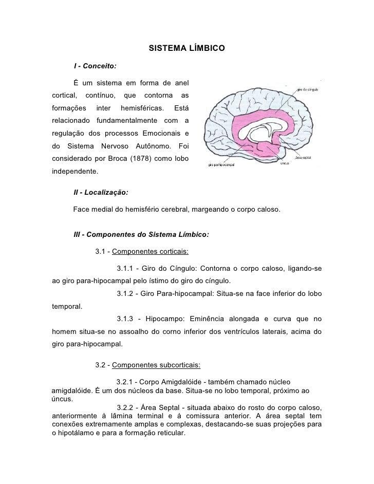 SISTEMA LÍMBICO         I - Conceito:         É um sistema em forma de anel cortical,   contínuo,     que   contorna    as...