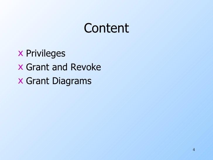 Content <ul><li>Privileges </li></ul><ul><li>Grant and Revoke </li></ul><ul><li>Grant Diagrams </li></ul>