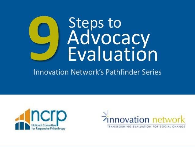 Innovation Network's Pathfinder SeriesAdvocacySteps toEvaluation