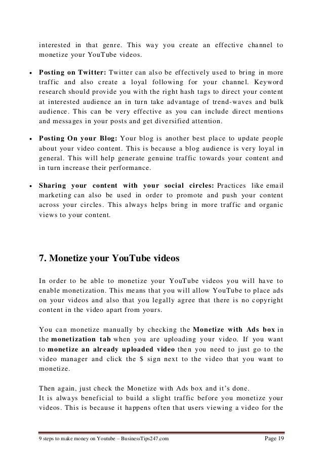9 steps to make money on youtube