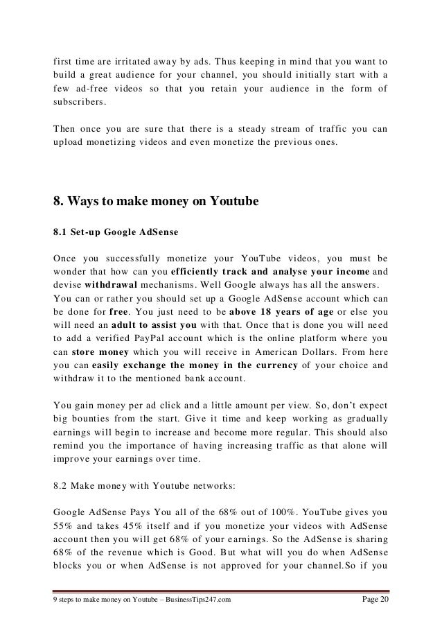 9 steps to make money on youtube