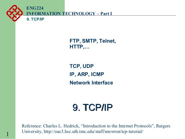 ENG224 INFORMATION TECHNOLOGY – Part I 9. TCP/IP  FTP, SMTP, Telnet, HTTP,…  TCP, UDP IP, ARP, ICMP Network Interface  9. ...