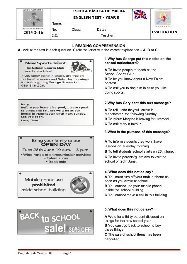 I- READING COMPREHENSION A.Look at the text in each question. Circle the letter with the correct explanation – A, B or C. ...