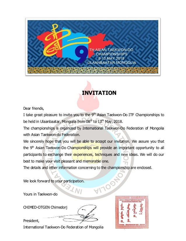 9th act official invitation invitation dear friends i take great pleasure to invite you to the 9th asian taekwon stopboris Image collections