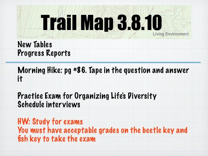 Trail Map 3.8.10                    Living Environment  New Tables Progress Reports  Morning Hike: pg #86. Tape in the que...