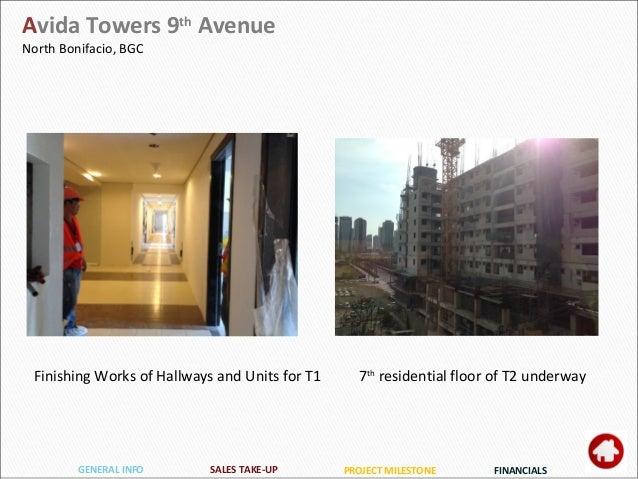 PROJECT MILESTONEGENERAL INFO FINANCIALSSALES TAKE-UP Avida Towers 9th Avenue North Bonifacio, BGC 7th residential floor o...