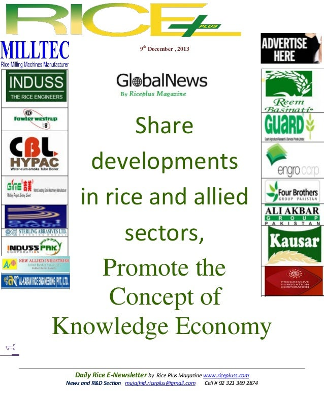 9th December , 2013  Share developments in rice and allied sectors, Promote the Concept of Knowledge Economy Daily Rice E-...