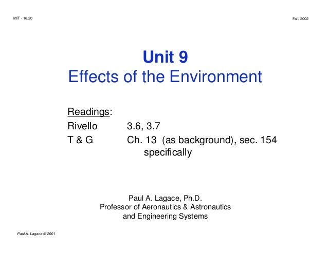MIT - 16.20 Fall, 2002 Unit 9 Effects of the Environment Readings: Rivello 3.6, 3.7 T & G Ch. 13 (as background), sec. 154...