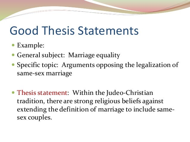 Thesis statement about gay marriage