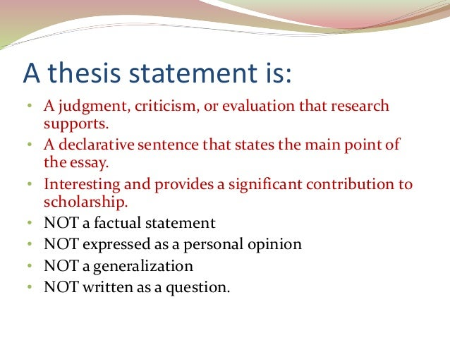 Scholarly thesis statements