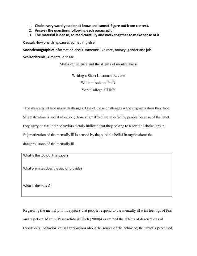 Literature Review Worksheet