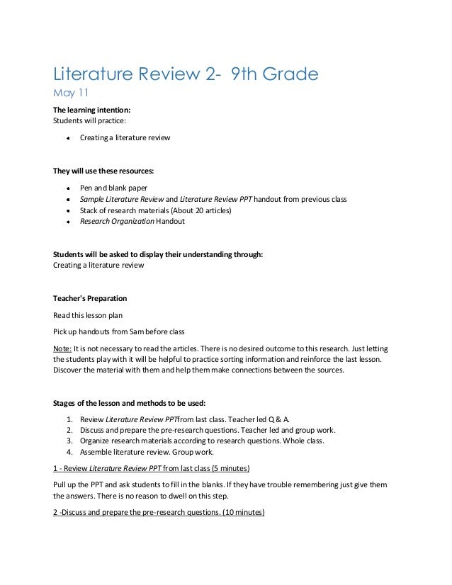 Literature Review Lesson Plan