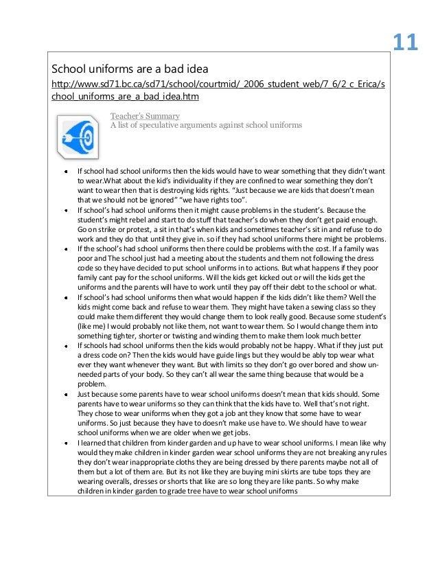 implementing uniforms into schools essay