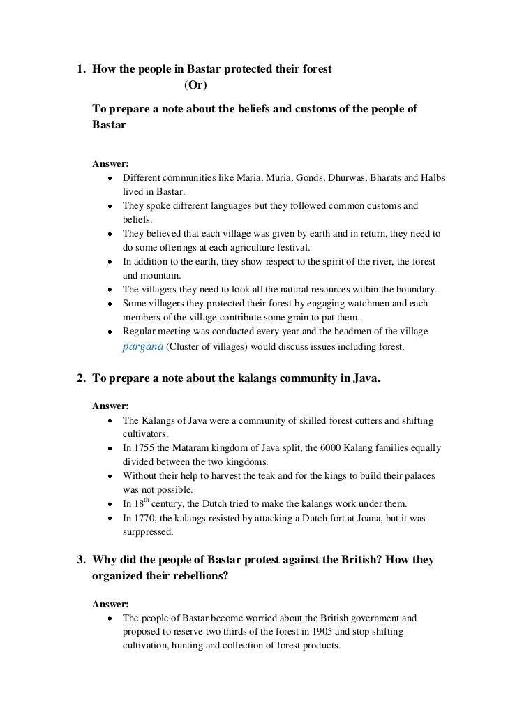 1. How the people in Bastar protected their forest                    (Or)   To prepare a note about the beliefs and custo...