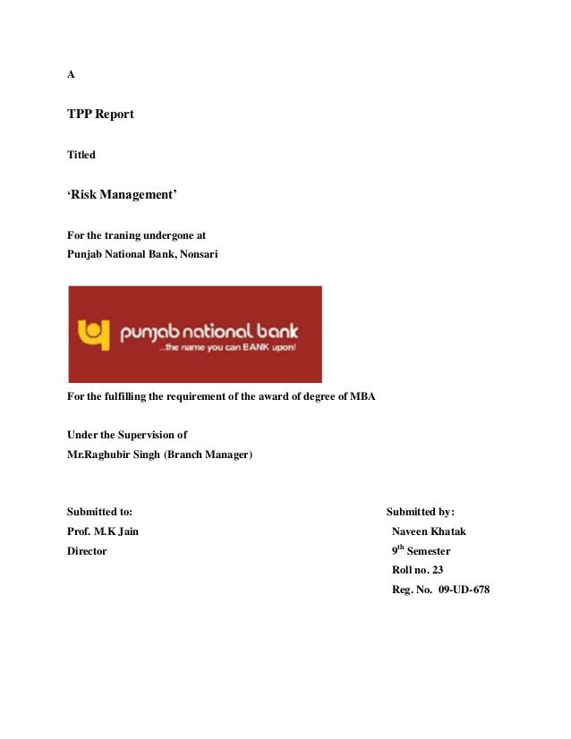 A TPP Report Titled 'Risk Management' For the traning undergone at Punjab National Bank, Nonsari For the fulfilling the re...