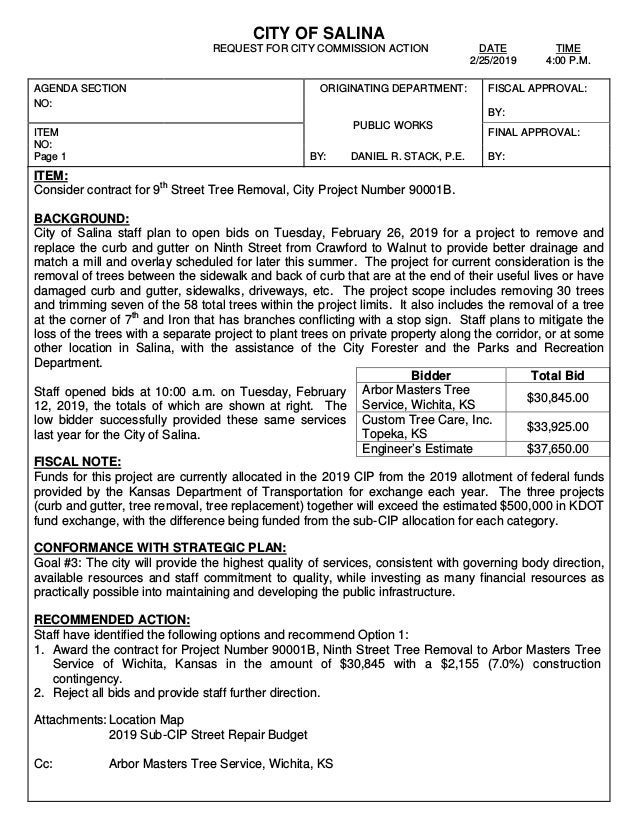 CITY OF SALINA REQUEST FOR CITY COMMISSION ACTION DATE TIME 2/25/2019 4:00 P.M. AGENDA SECTION NO: ORIGINATING DEPARTMENT:...
