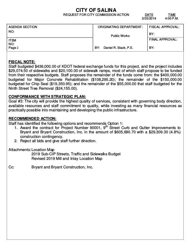 CITY OF SALINA REQUEST FOR CITY COMMISSION ACTION DATE TIME 3/25/2019 4:00 P.M. AGENDA SECTION NO: ORIGINATING DEPARTMENT:...