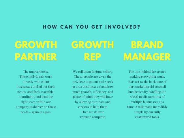 GROWTH PARTNER The quarterbacks. These individuals work directly with client businesses to find out their needs, and then ...