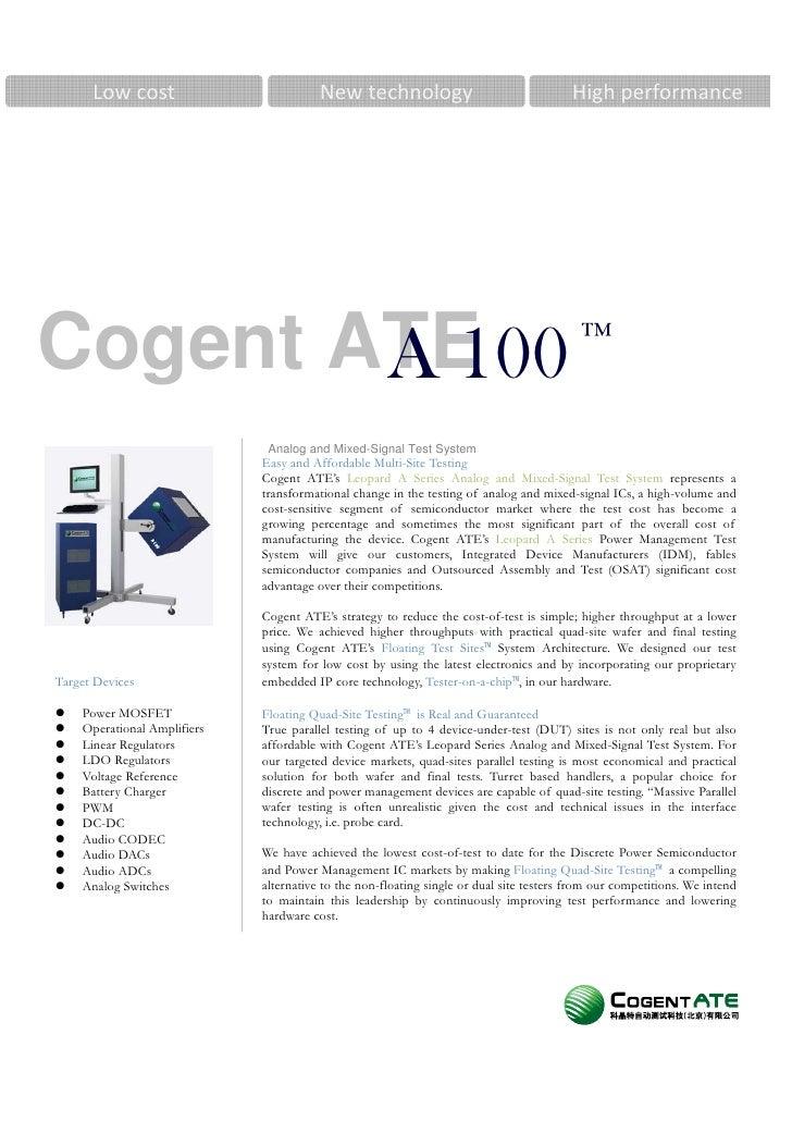 Lowcost                         New technology                                   Highperformance     Cogent ATE        ...