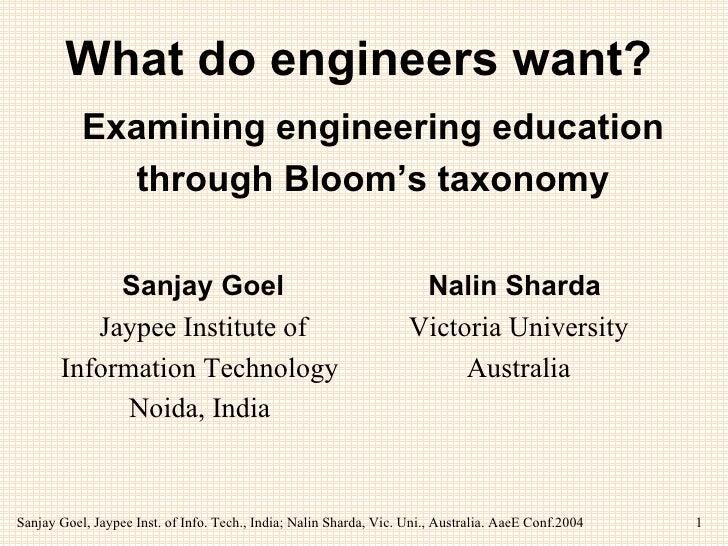 What do engineers want?   Sanjay Goel Jaypee Institute of Information Technology  Noida, India     Nalin Sharda  Victoria ...
