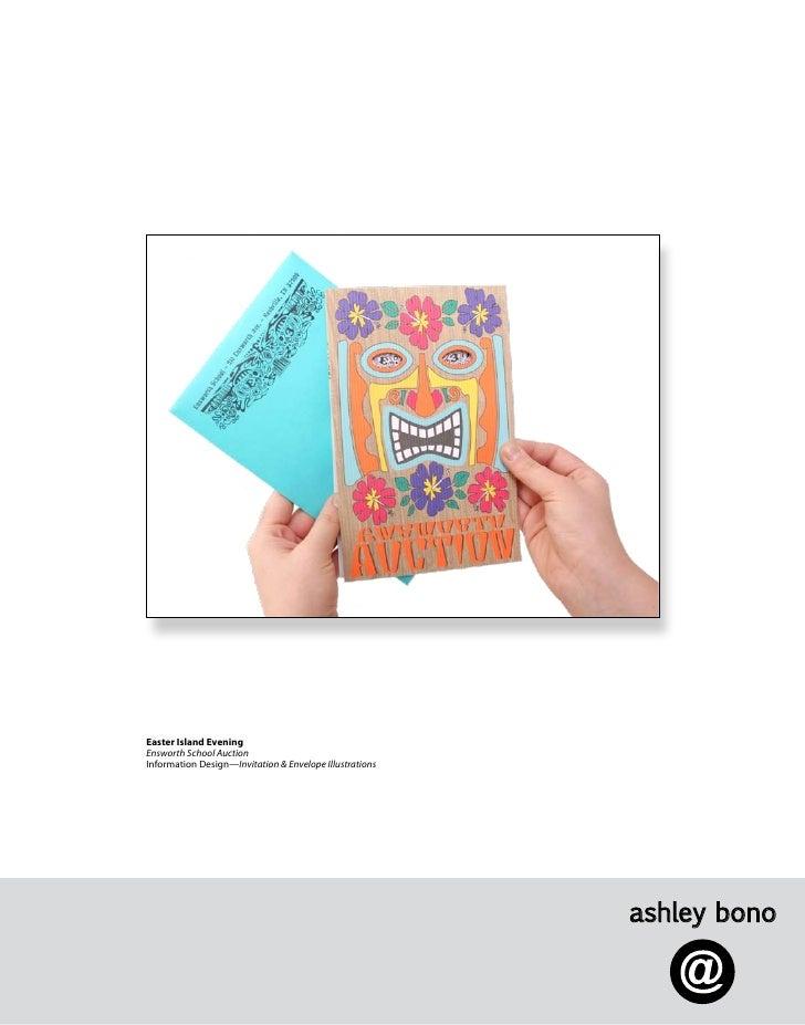 Easter Island Evening Ensworth School Auction Information Design—Invitation & Envelope Illustrations                      ...