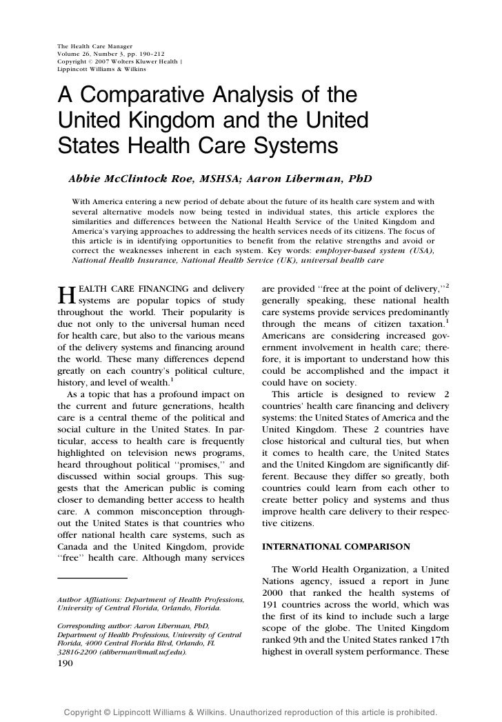 A Comparative Analysis Of The Uk And Us Health Care Systems The Health Care  Manager Volume