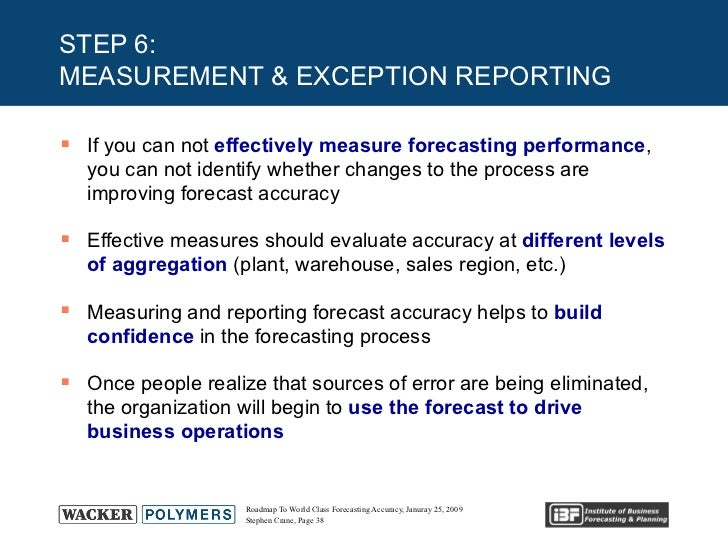 A Roadmap To World Class Forecasting Accuracy – Reporting Roadmap