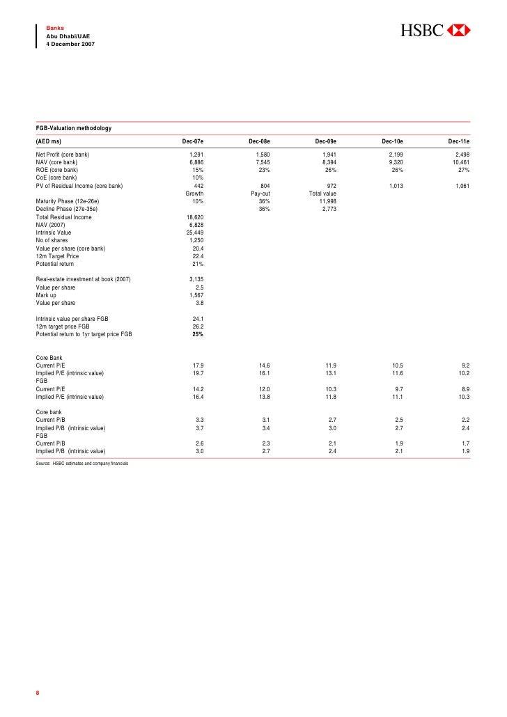 abc     Banks     Abu Dhabi/UAE     4 December 2007     FGB-Valuation methodology (AED ms)                                ...