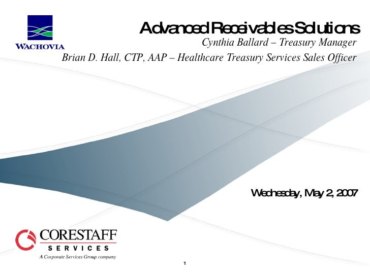 Advanced Receivables Solutions Wednesday, May 2, 2007 Cynthia Ballard – Treasury Manager Brian D. Hall, CTP, AAP – Healthc...