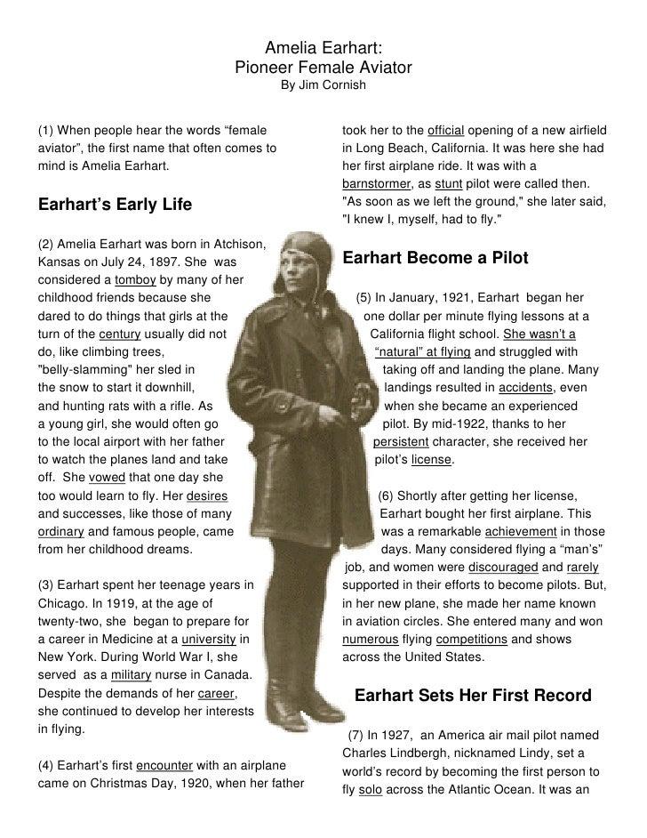 Amelia Earhart Pioneer Female Aviator By Jim Cornish