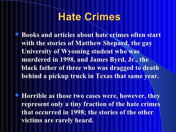 an introduction to hate crime hate crimes
