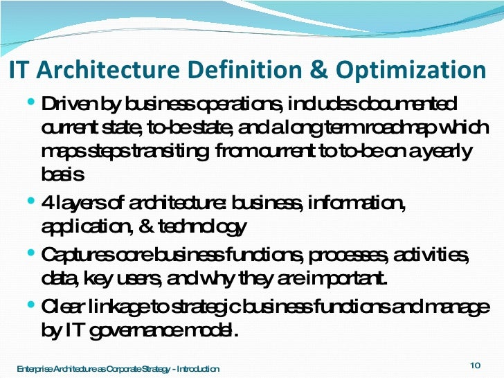Architecture series 5 1 ea as corporate strategy introduction for Define architect