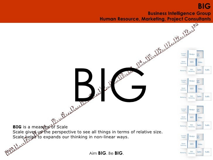 Aim  BIG . Be  BIG . BIG  is a measure of Scale Scale gives us the perspective to see all things in terms of relative size...