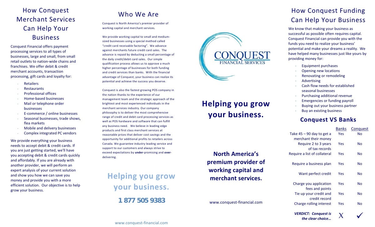 Brochure funding merchant services how conquest colourmoves