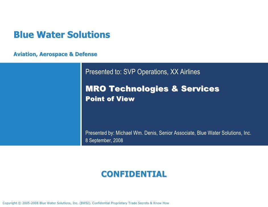 Blue Water Solutions       Aviation, Aerospace & Defense                                                       Presented t...