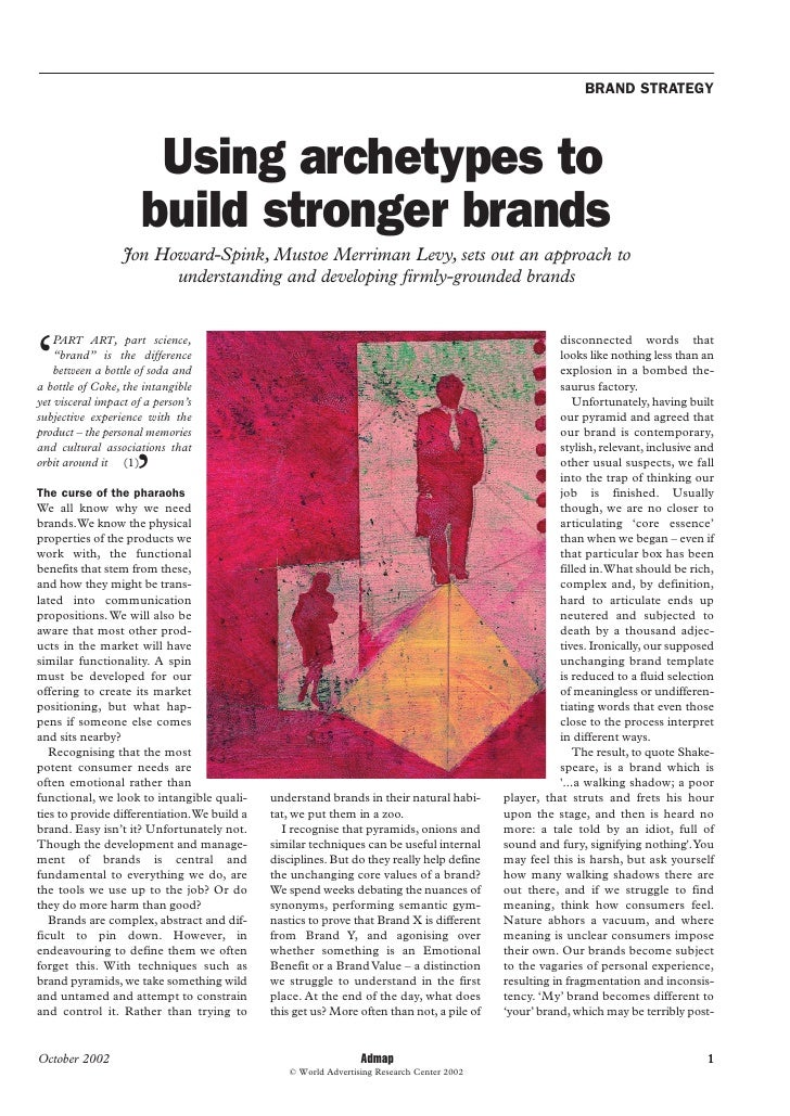 BRAND STRATEGY                            Using archetypes to                       build stronger brands                 ...