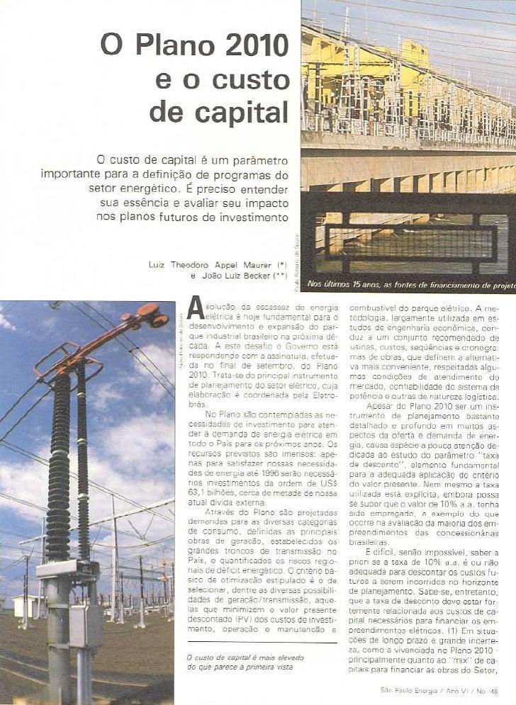 Brazil Maurer Plano2010custocapital