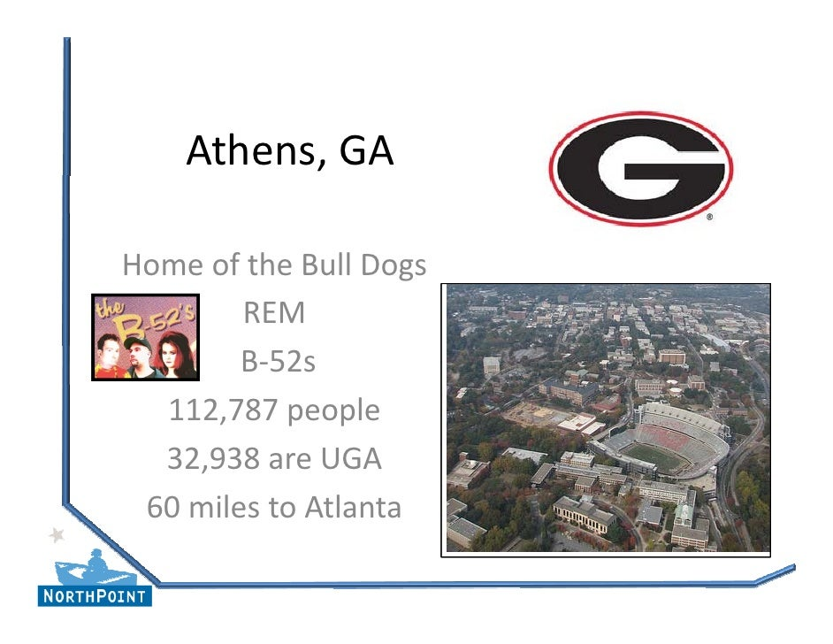 Athens, GA  Home of the Bull Dogs         REM         B‐52s         B 52s   112,787 people   32,938 are UGA  60 miles to A...