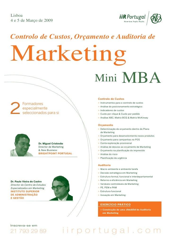 Lisboa 4 e 5 de Março de 2009   Controlo de Custos, Orçamento e Auditoria de   Marketing                                  ...