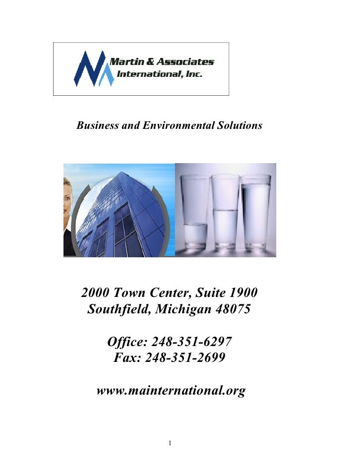 Business and Environmental Solutions     2000 Town Center, Suite 1900  Southfield, Michigan 48075       Office: 248-351-62...
