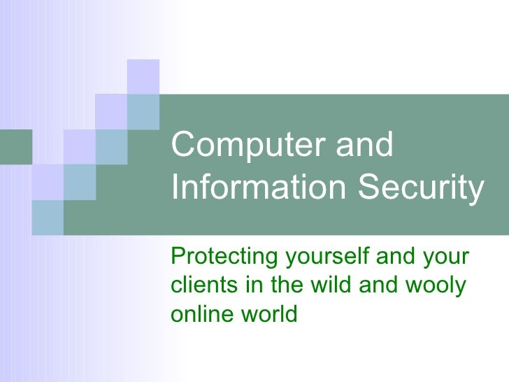 Computer and Information Security Protecting yourself and your clients in the wild and wooly online world